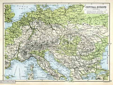 Antique map of Central Europe, showing the Principal Railways from 1891