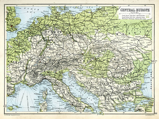 bildbanksillustrationer, clip art samt tecknat material och ikoner med antique map of central europe - austria railway