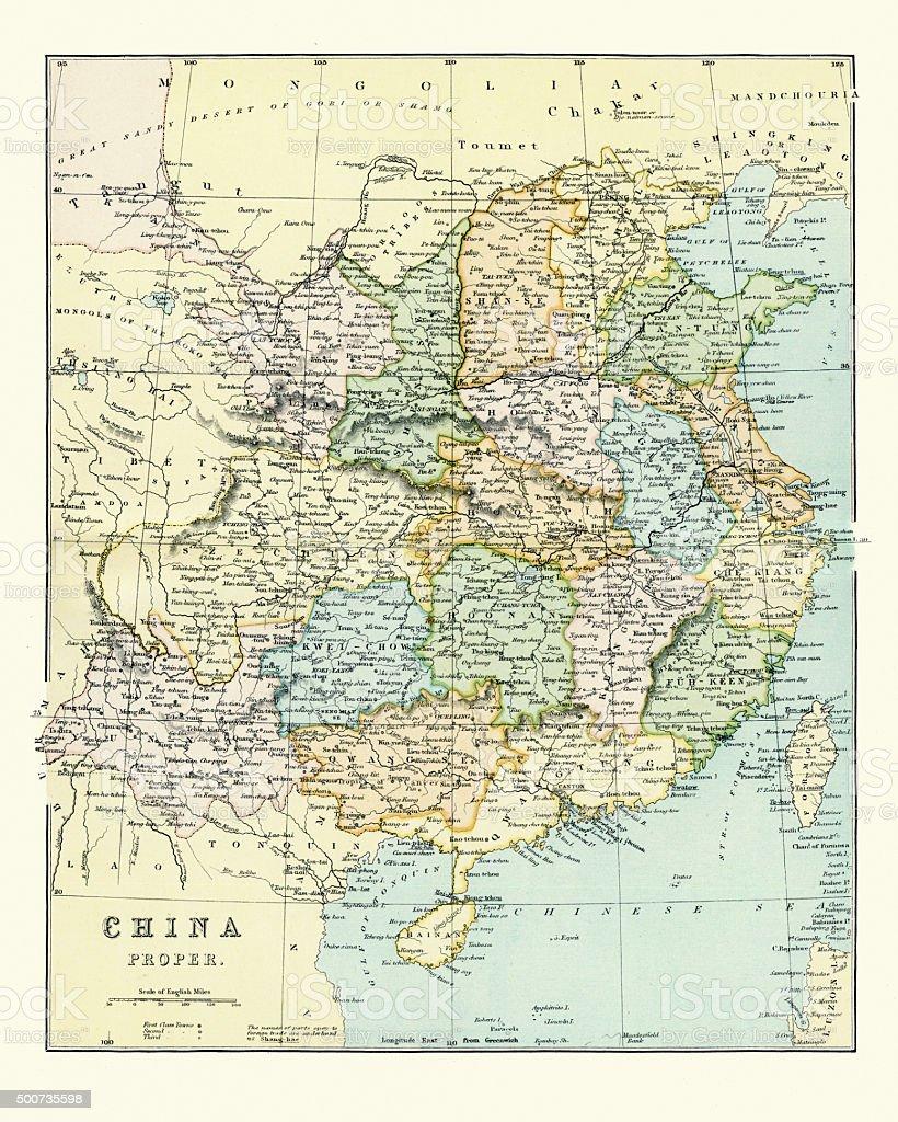 Carte Chine Antique.Carte Antique De La Chine Du Xixe Siecle Vecteurs Libres De