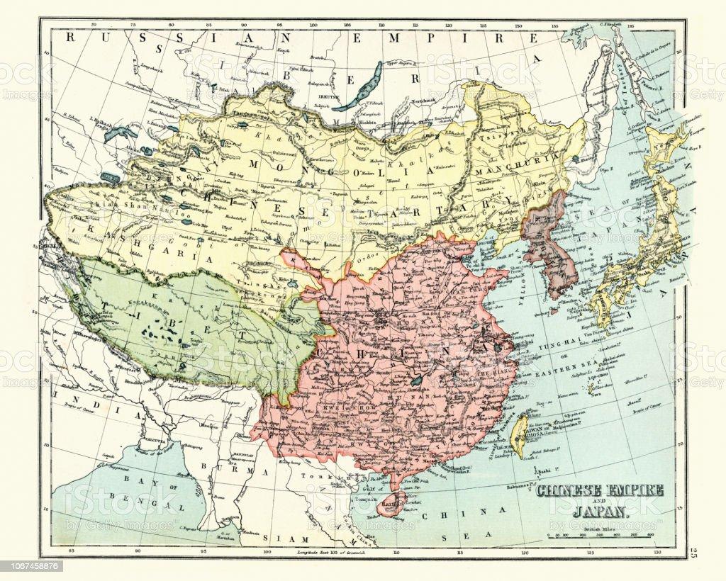 Carte Chine Antique.Antique Carte De Lempire Chinois Japon 1897 Fin Xixe Siecle