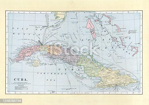 istock Antique map of Cuba, 19th Century 1248265734