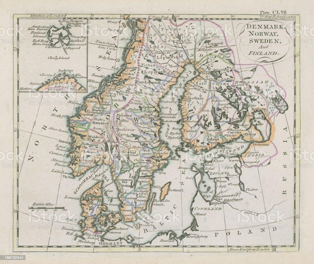 Karte Norwegen Dänemark.Antike Karte Von Dänemark Norwegen Schweden Und Finnland Stock Vektor Art Und Mehr Bilder Von Alt