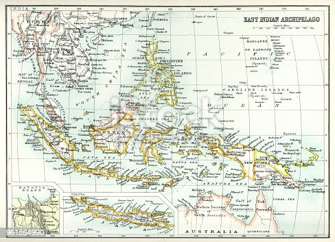 Antique map of East Indian Archipelago, including, the Phillippines, Papua New Guinea, Borneo and Java from 1891. With Detail of Batavia (Jakarta)