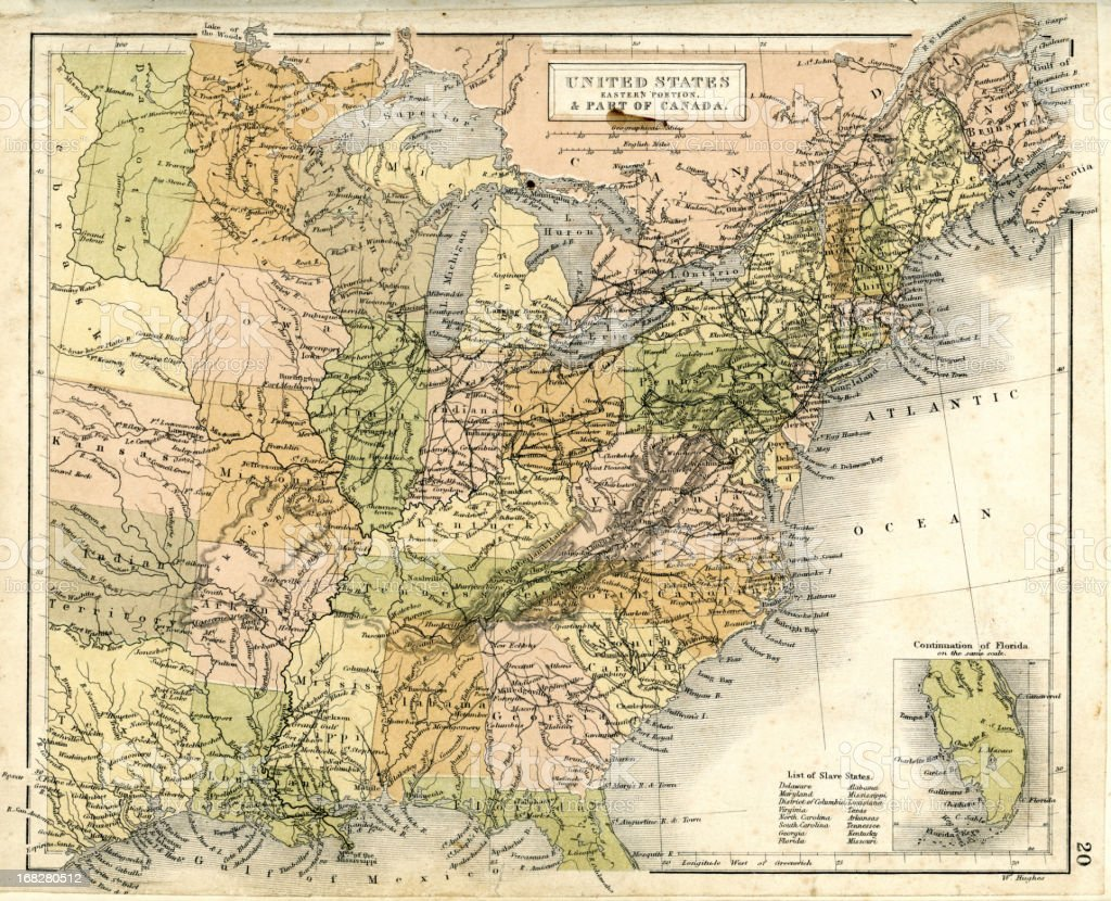 Antique map of Eastern United States vector art illustration