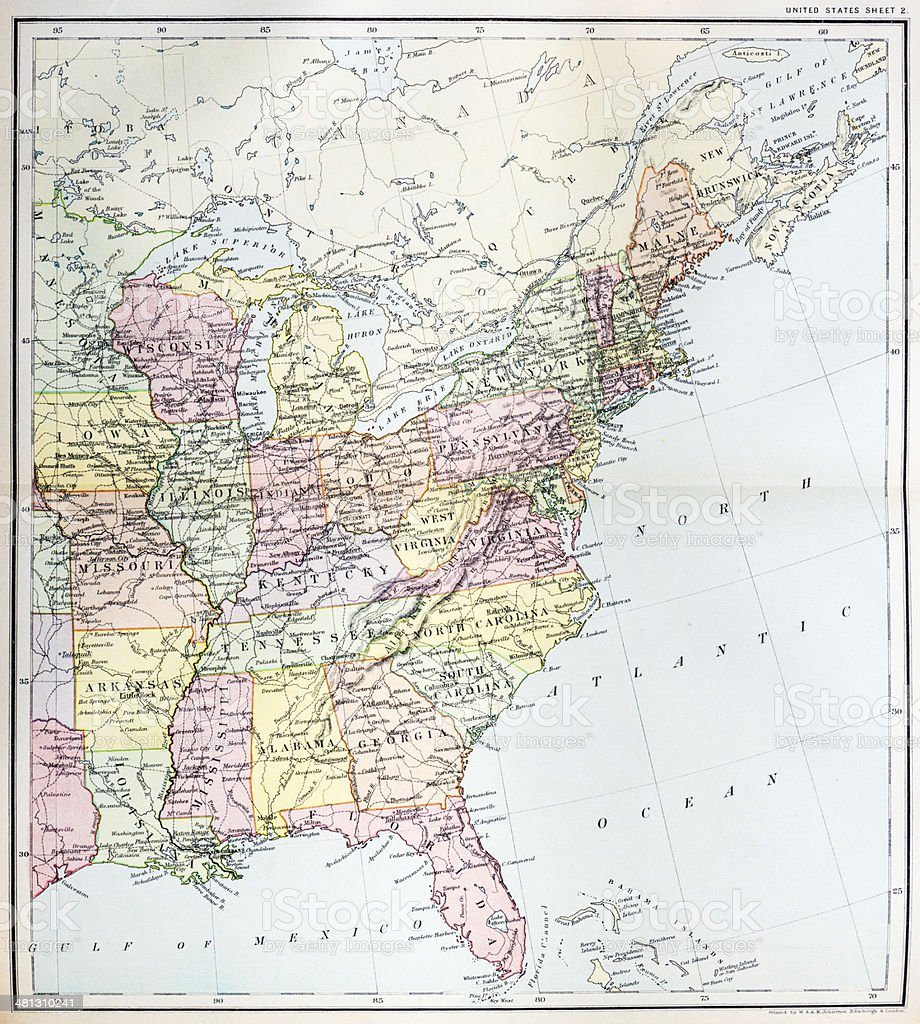 Antique Map Of Eastern United States Stock Vector Art More Images