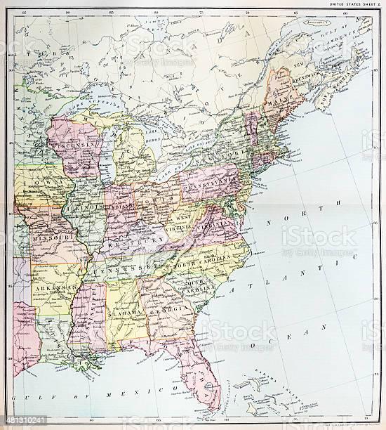 Ilustración De Mapa Antiguo Del Este De Estados Unidos Y Más Vectores Libres De Derechos De Anticuado Istock