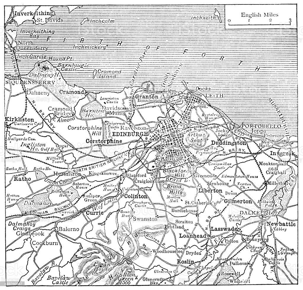 Antique map of edinburgh stock vector art more images of 19th antique map of edinburgh royalty free antique map of edinburgh stock vector art amp gumiabroncs Images