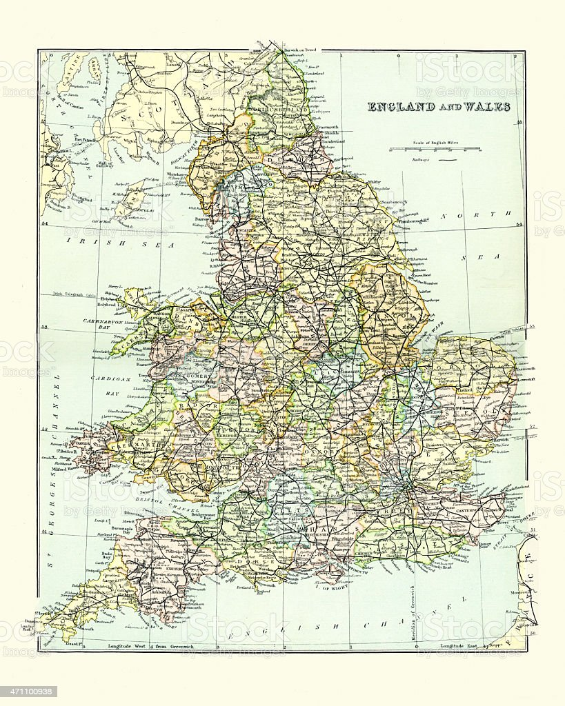Antique Map of England and Wales 1880s vector art illustration