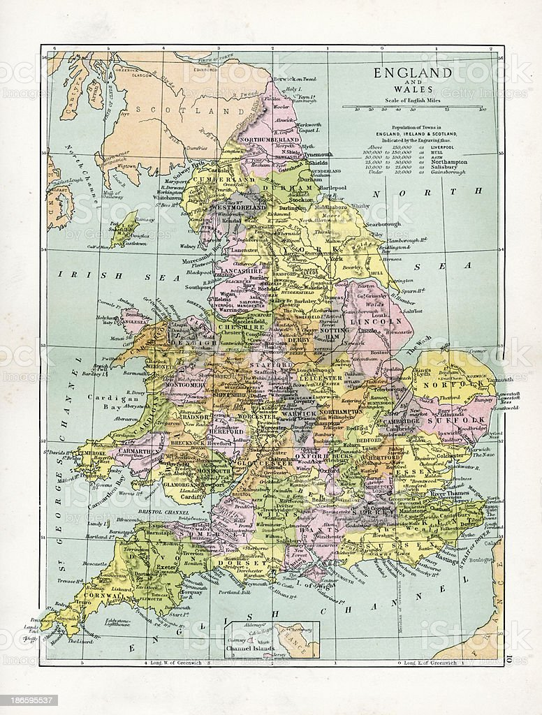 Antique Map of England and Wales vector art illustration