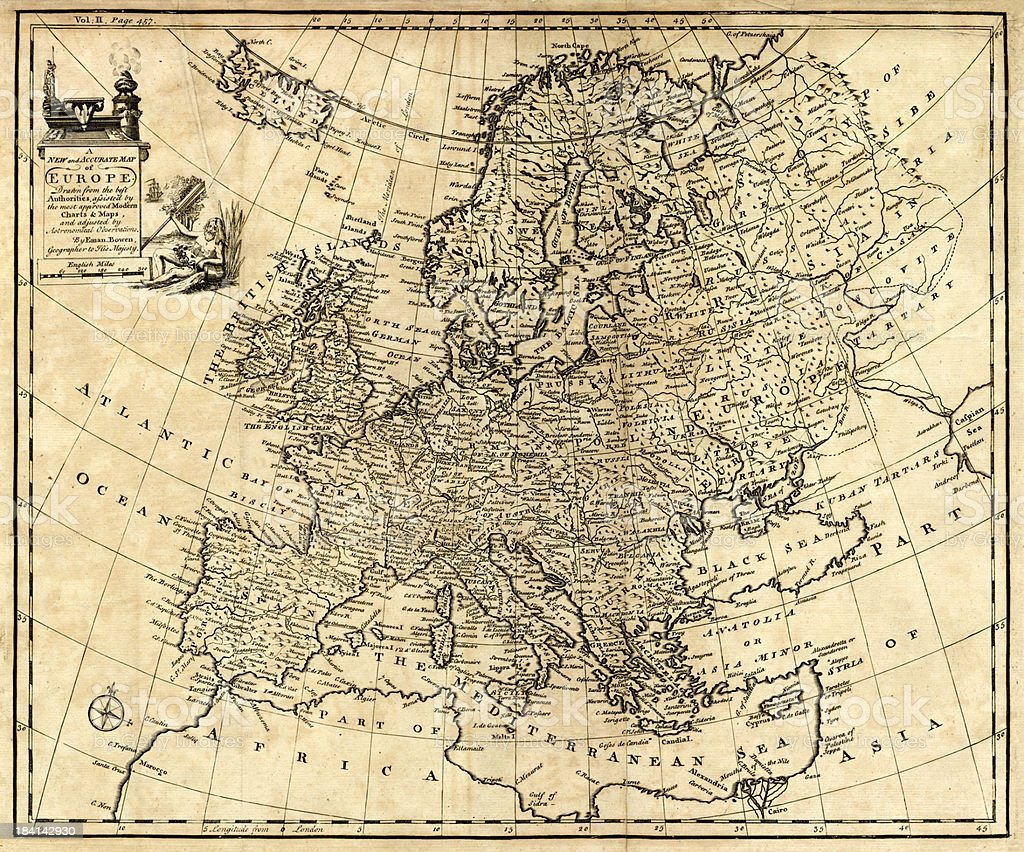 Antique Map of Europe 1744 vector art illustration