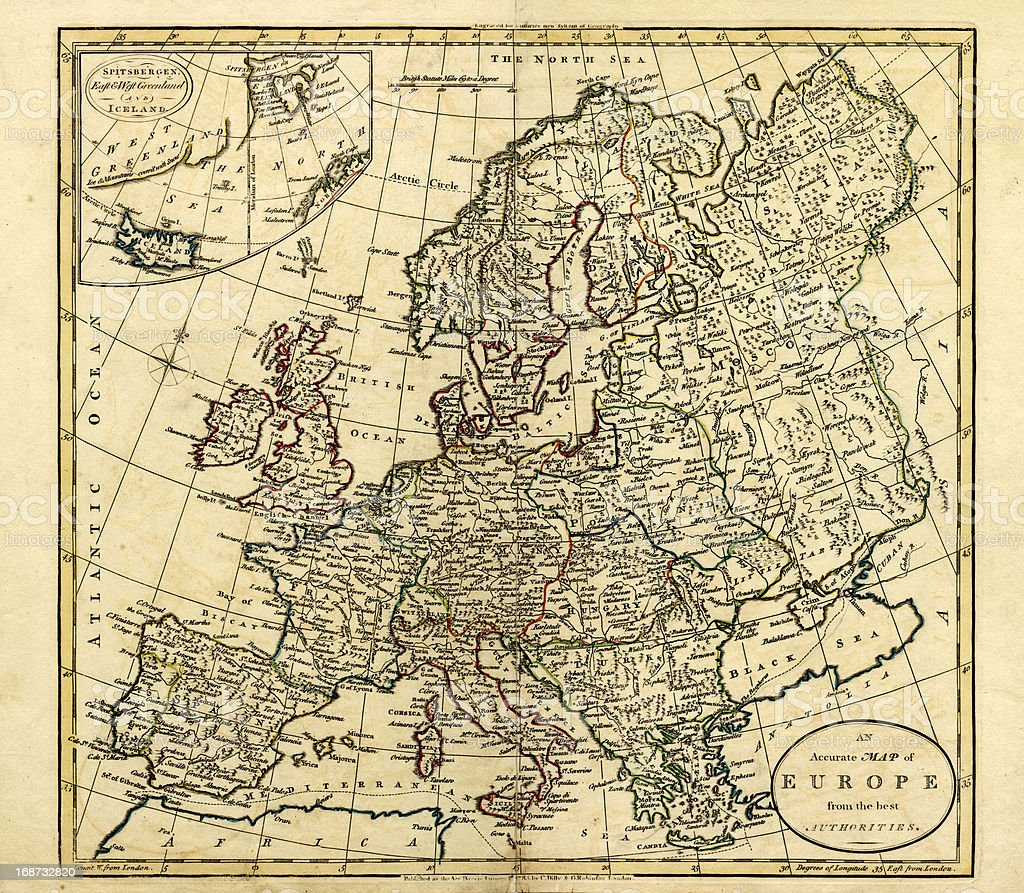 Antique Map of Europe, 1785 royalty-free stock vector art