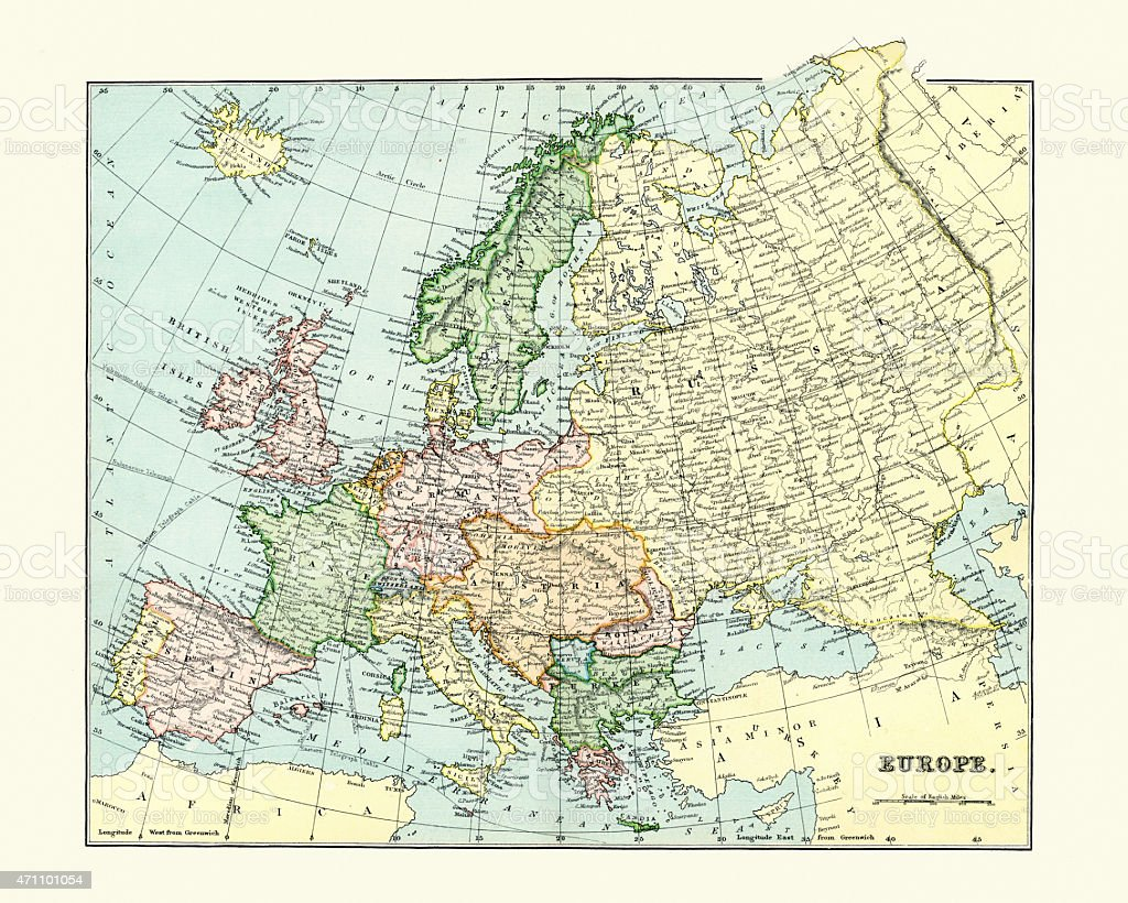 Antique Map of Europe 1880s vector art illustration
