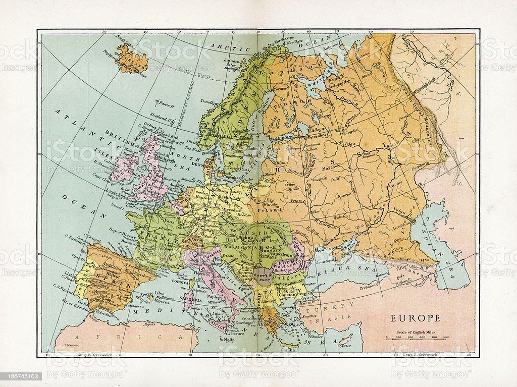 Antique Map of Europe vector art illustration