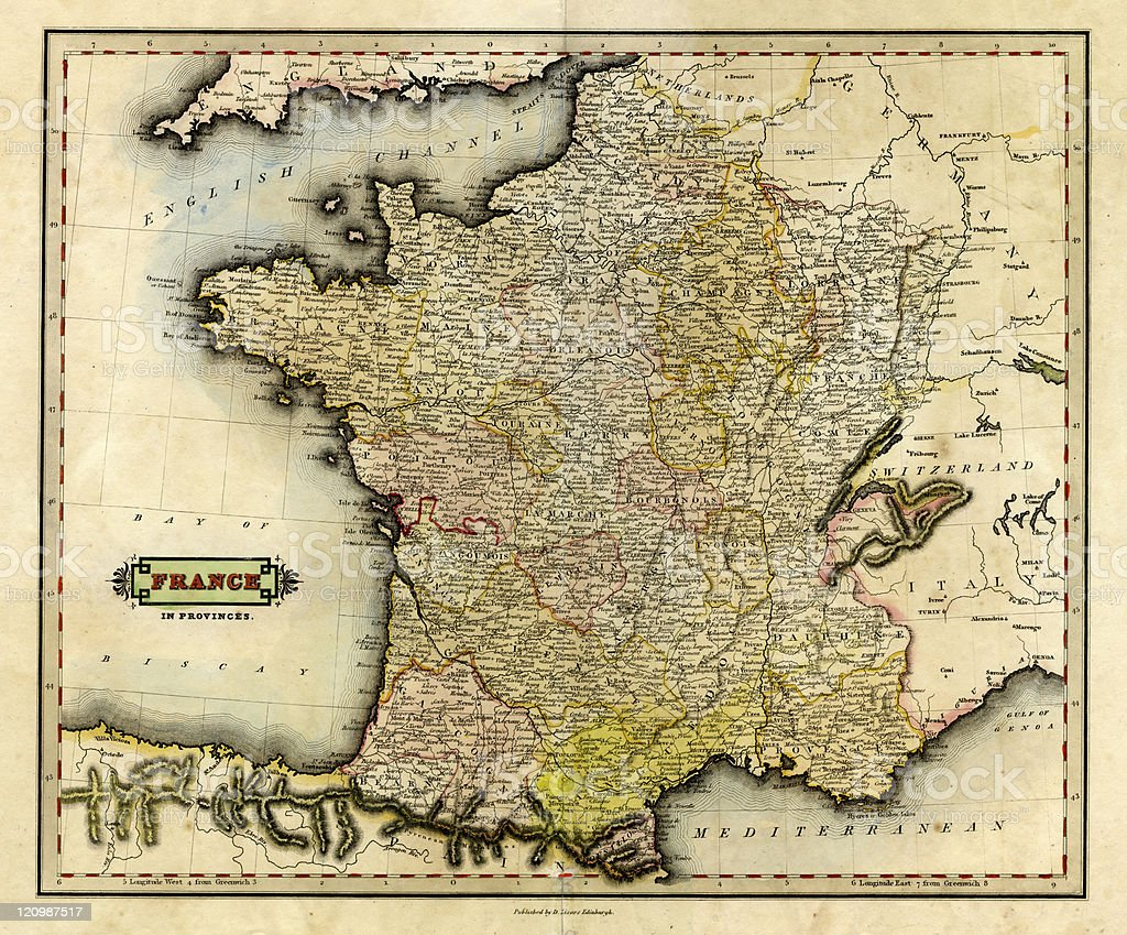 Provinces Of France Map In English.Antique Map Of France In Provinces 1831 Stock Vector Art More