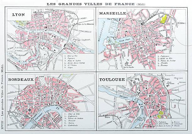 stockillustraties, clipart, cartoons en iconen met antique map of french cities: lyon, marseille, bordeaux, toulouse - marseille