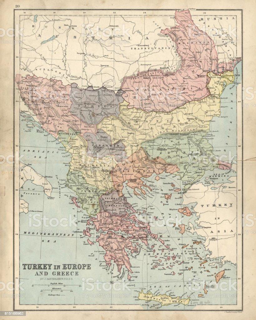 Karta Europa Turkiet.Antika Karta Over Grekland Och Turkiet I Europa Fran 1800talet