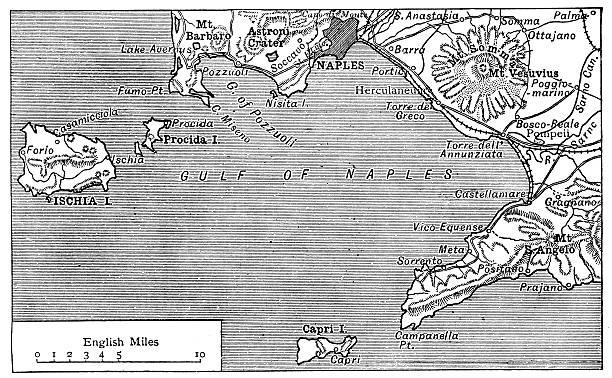 illustrazioni stock, clip art, cartoni animati e icone di tendenza di antica mappa del golfo di napoli - capri