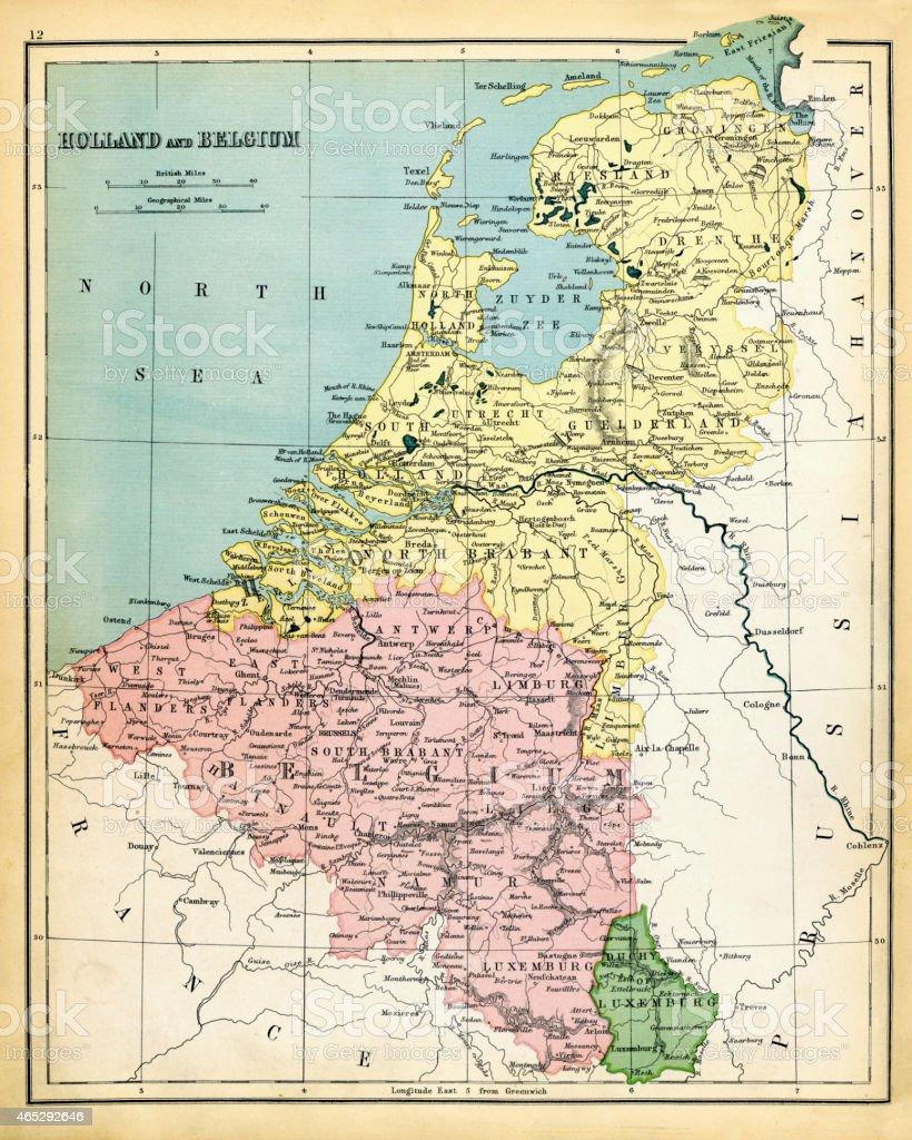 Karte Von Holland Und Belgien.Antike Karte Von Holland Und Belgien 1897 Stock Vektor Art