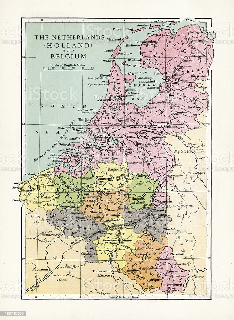 Karte Von Holland Und Belgien.Antike Karte Von Holland Und Belgien Stock Vektor Art Und