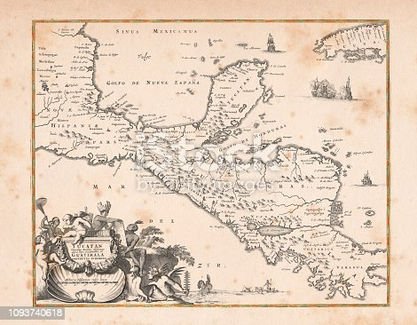 Map of Honduras Yucatan and Mexico Original edition from my own archives Source: America New World Empires 1671