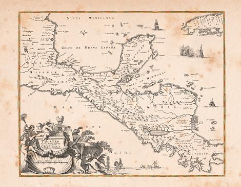 Antique map of Honduras Yucatan and Mexico 1671