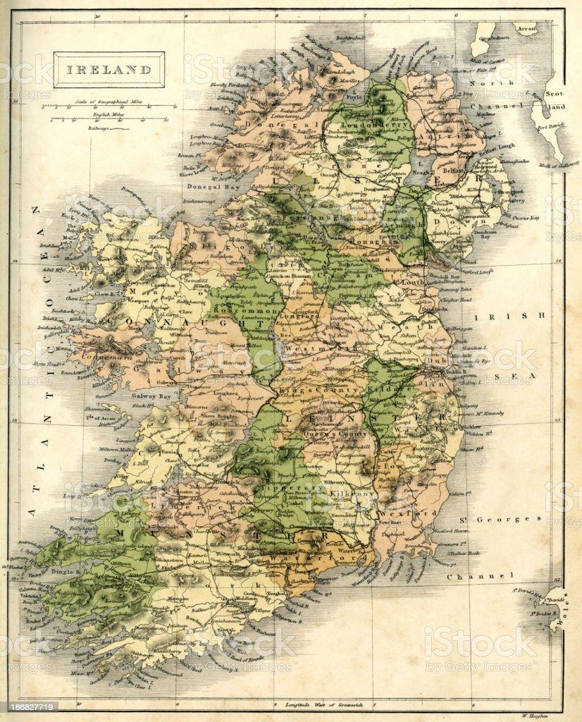 Antique map of Ireland vector art illustration