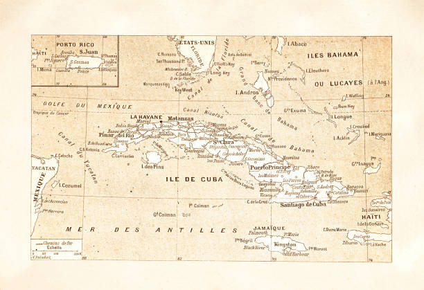 Antique map of island Cuba 1881 Antique map of island Cuba 1881 Original edition from my own archives Source : Journal des Voyages drawing of a haiti map stock illustrations