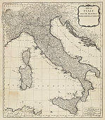 Vintage map of Italy. Vintage etching circa late 18th century.