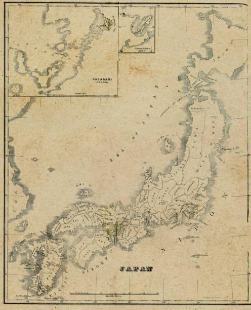 Antique Map of Japan - 19th Century vector art illustration