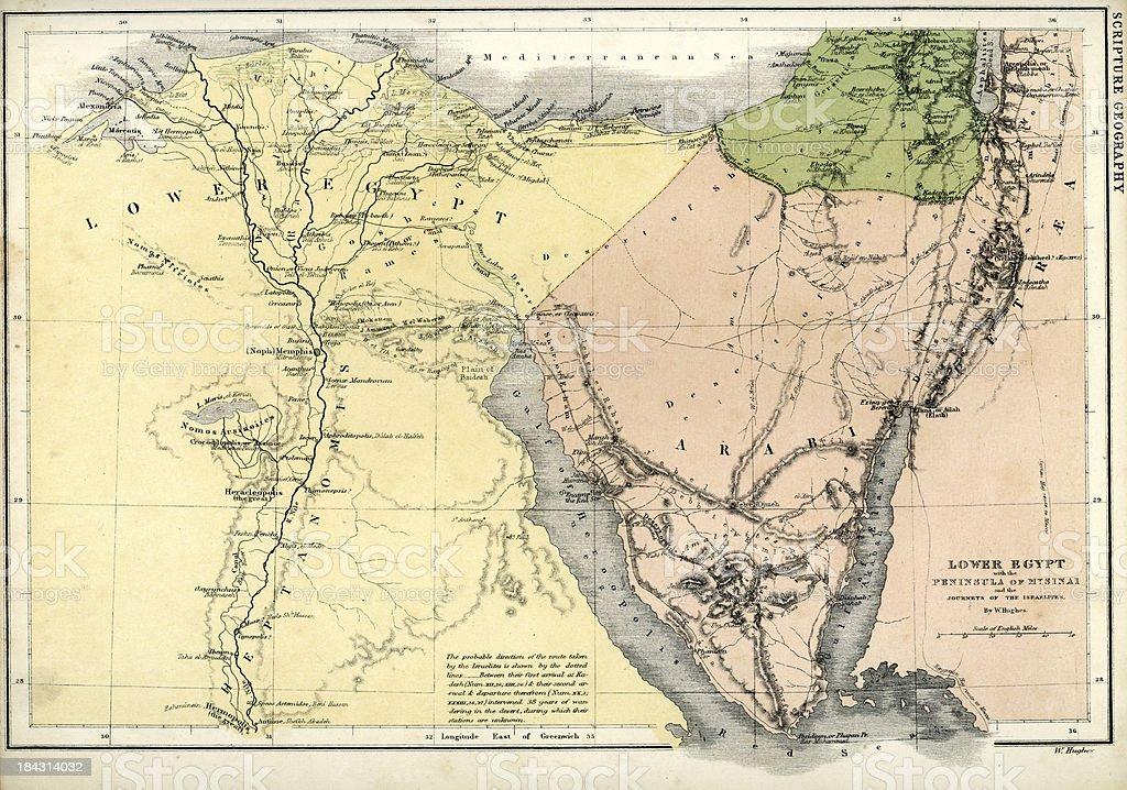Antique map of Lower Egypt vector art illustration