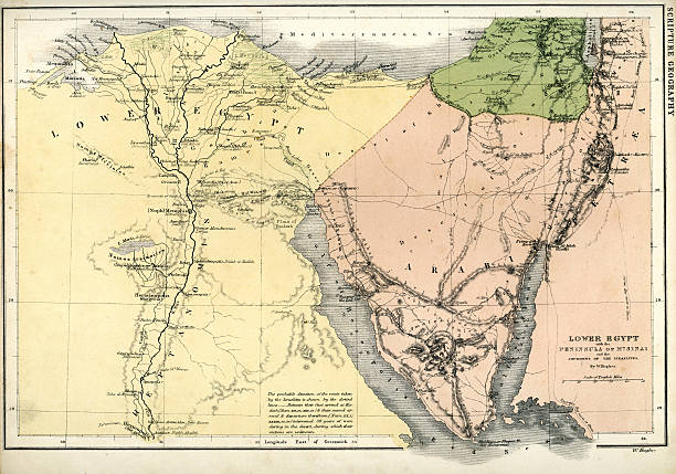 Antique map of Lower Egypt Vintage map from 1861 of Lower Egypt showing the journeys of the Israelites ancient egyptian culture stock illustrations