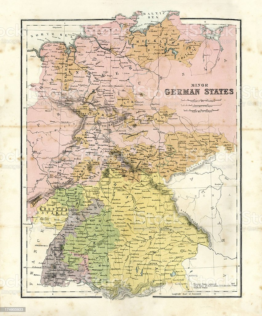 Antique Map Of Minor German States Stock Vector Art & More Images of ...