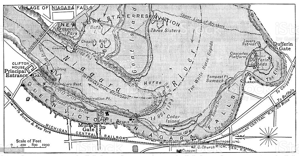 Antique map of Niagara Falls royalty-free stock vector art