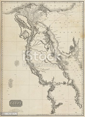 Vintage map of the Nile River in Egypt. Vintage etching circa early 19th century.