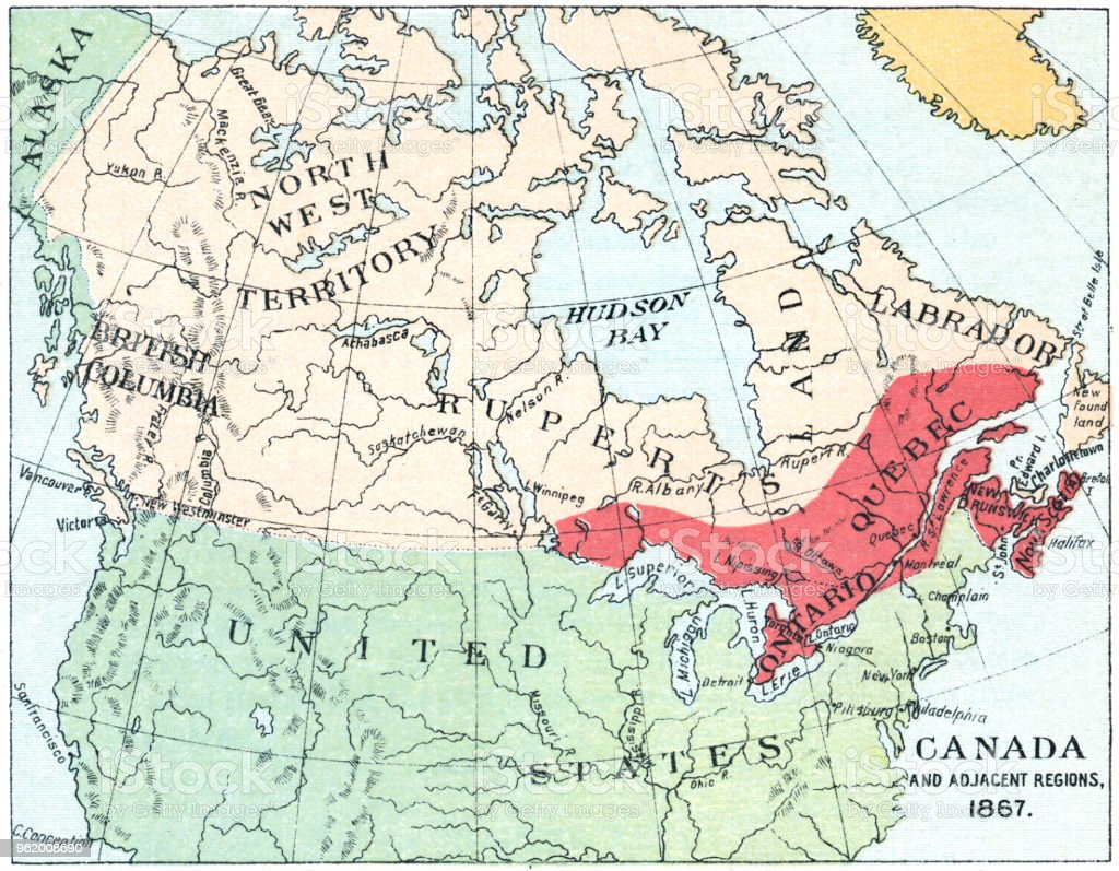 Map Of Canada During Confederation.Antique Map Of North America At Canadas Confederation 19th Century
