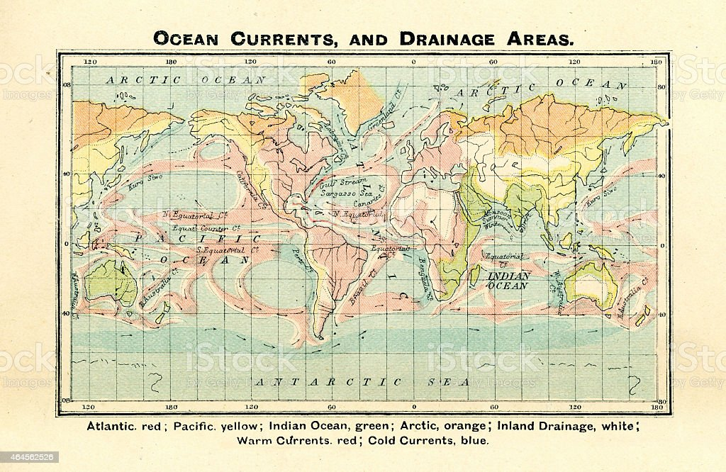 Antique Map of Ocean Currents and Drainage Areas 1897 vector art illustration