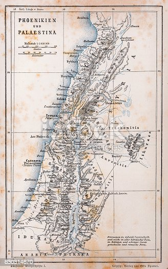 istock Antique map of Palestine and Phoenicia 830314670