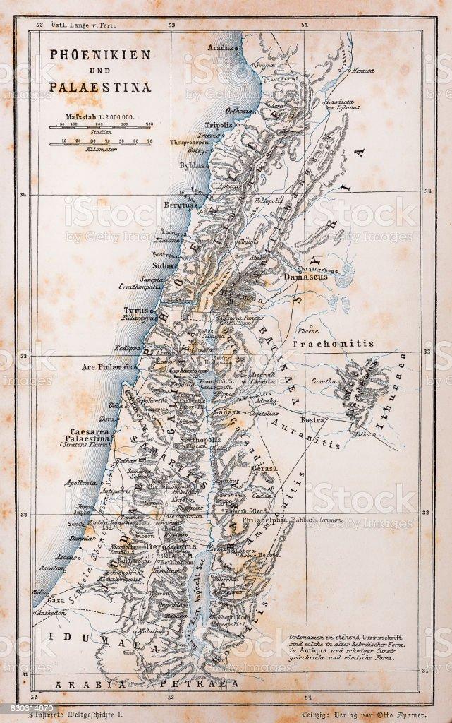 Antigo mapa da Palestina e fenícia - ilustração de arte em vetor