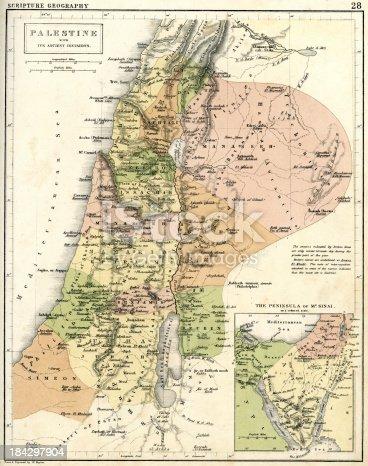 istock Antique map of Palestine 184297904