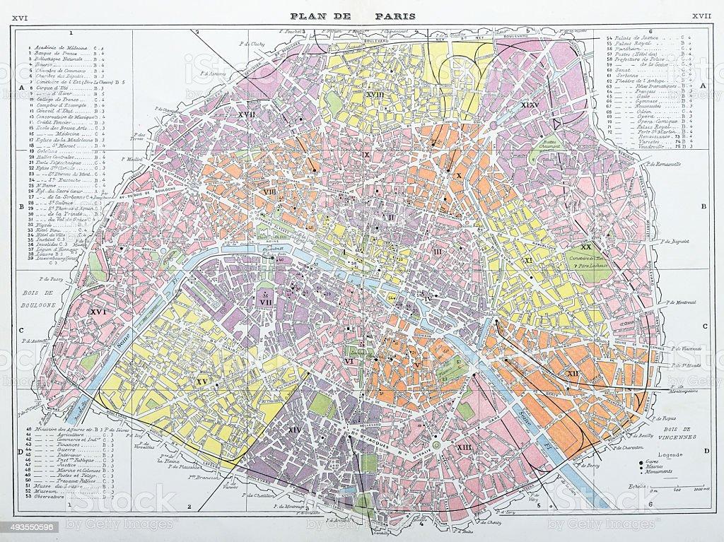 Antique map of Paris vector art illustration
