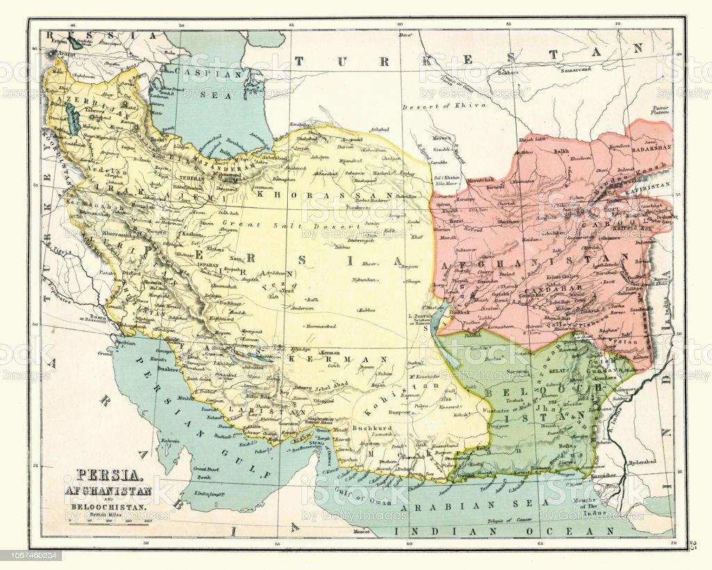 Persien Karte.Antike Landkarte Von Persien Afghanistan Beloochistan 1897 Ende 19