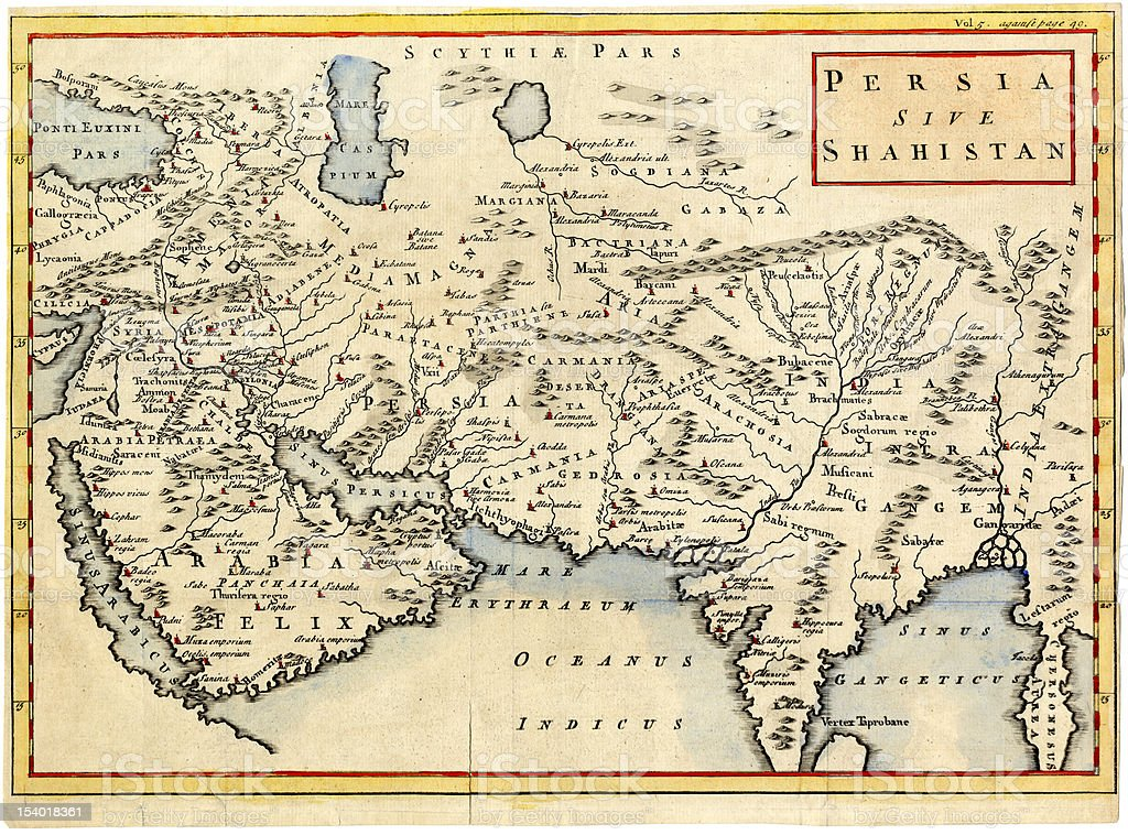 Antique map of Persia and Arabia 1730 vector art illustration
