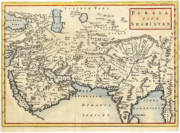 ilustraciones, imágenes clip art, dibujos animados e iconos de stock de antiguo mapa de persia y saudita 1730 - mapa de oriente medio