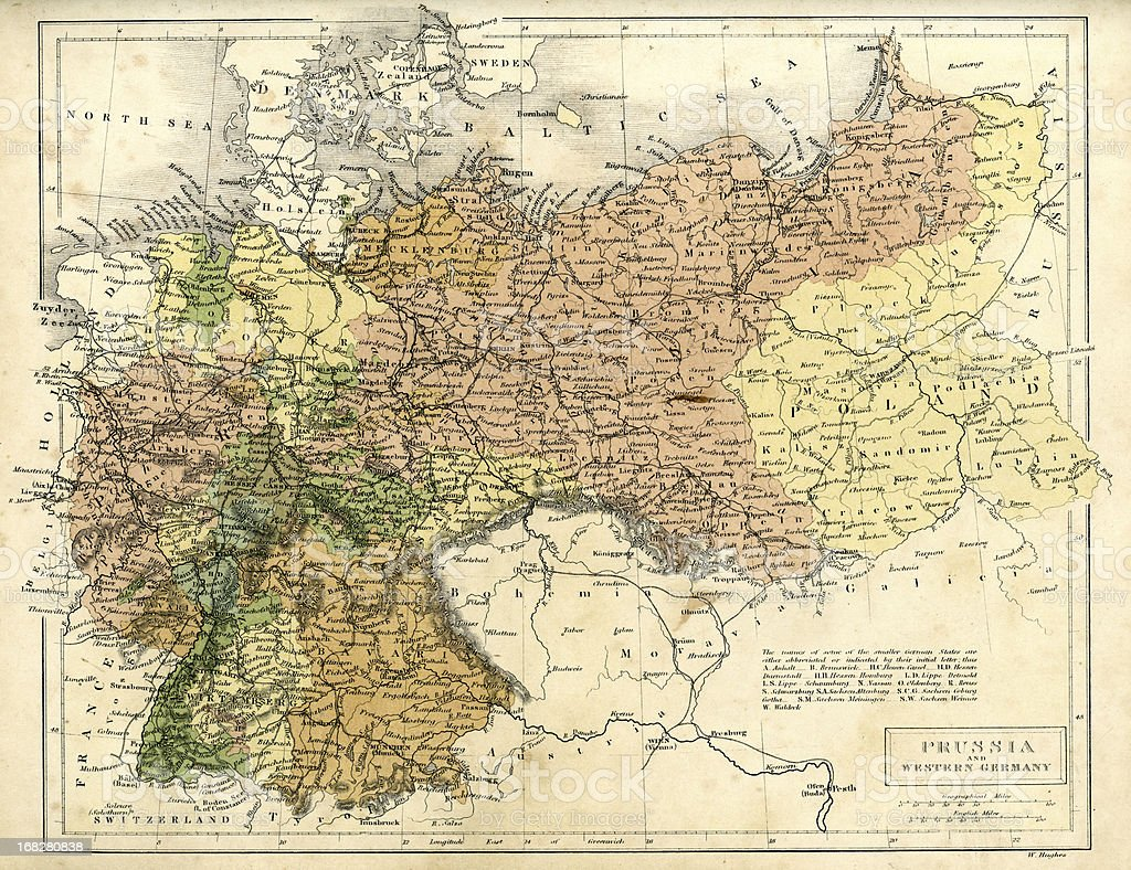Antique Map Of Prussia And Western Germany Stock Illustration Download Image Now Istock