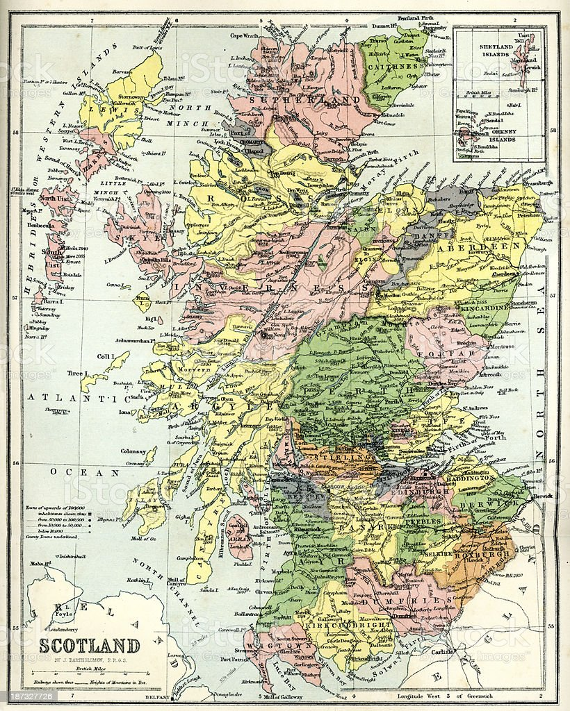 Antique map of Scotland royalty-free stock vector art