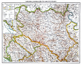 Illustration of a Antique map of Serbia ,Novi Pazar and Montenegro