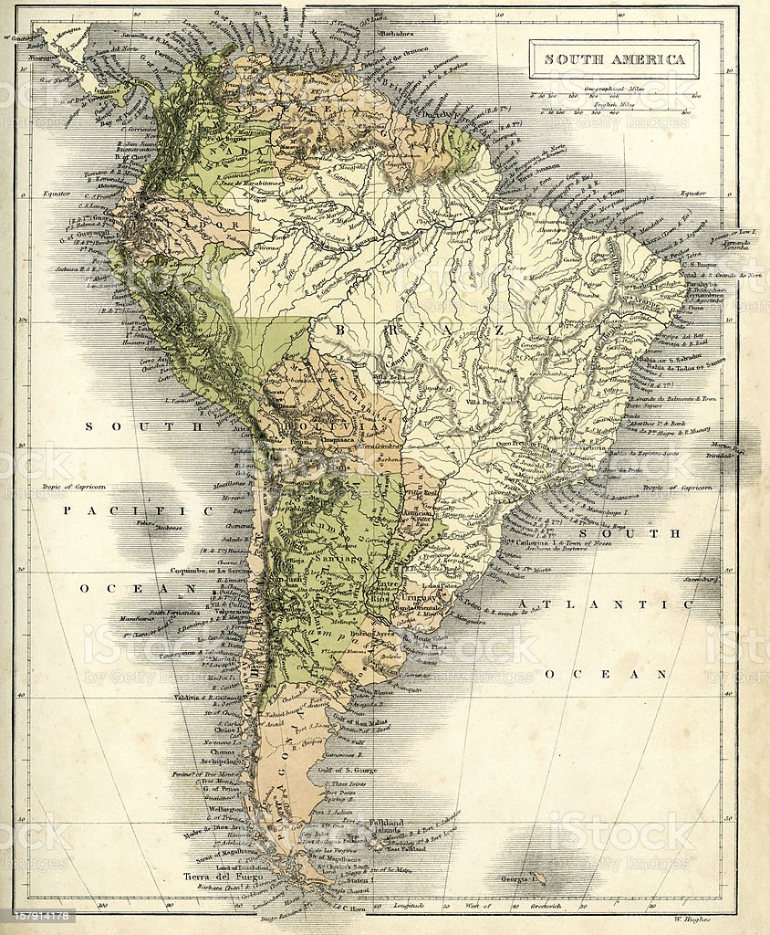 Antique map of South America royalty-free antique map of south america stock vector art & more images of 1860-1869