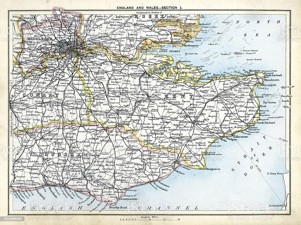 Antique map of South East England vector art illustration