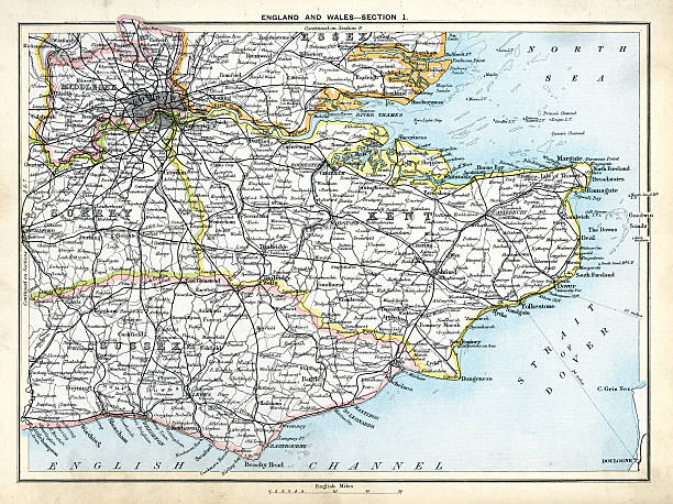 stockillustraties, clipart, cartoons en iconen met antique map of south east england - east sussex