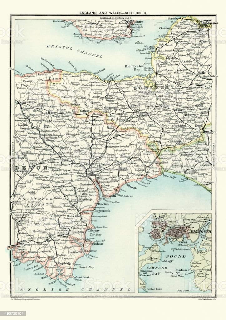 South Devon England Map.Antique Map Of South West England Somerset Devon 1891 Stock Vector
